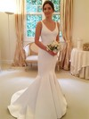 Trumpet/Mermaid V-neck Satin with Bow Sweep Train Backless Simple Wedding Dresses #PDS00022805