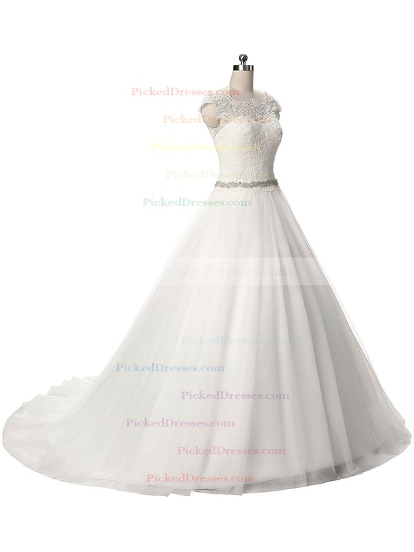 Ball Gown Scalloped Neck Tulle Sashes / Ribbons Sweep Train Graceful Wedding Dresses #PDS00022806