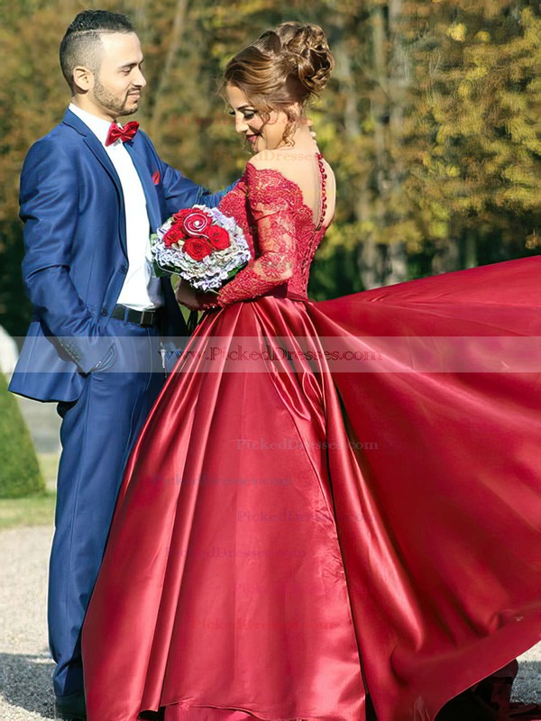 Classy Ball Gown Off-the-shoulder Burgundy Satin Tulle Appliques Lace Watteau Train Long Sleeve Wedding Dresses #PDS00022807