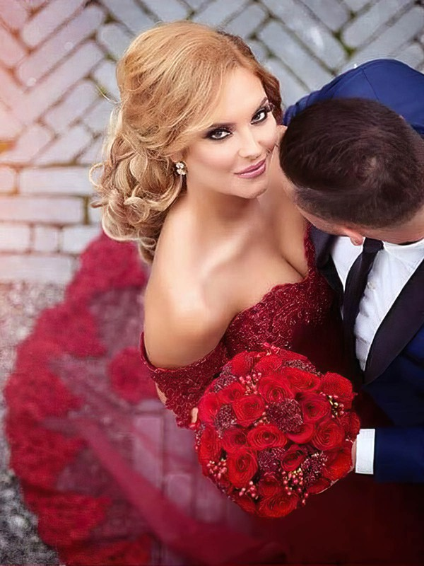 Trumpet/Mermaid Off-the-shoulder Burgundy Tulle Appliques Lace Court Train Sexy Wedding Dresses #PDS00022809