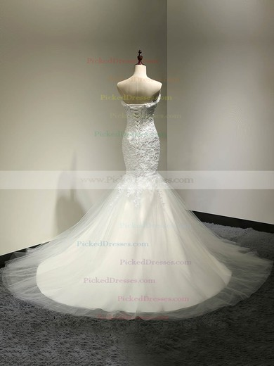 Custom Trumpet/Mermaid Sweetheart White Tulle Appliques Lace Court Train Wedding Dresses #PDS00022810