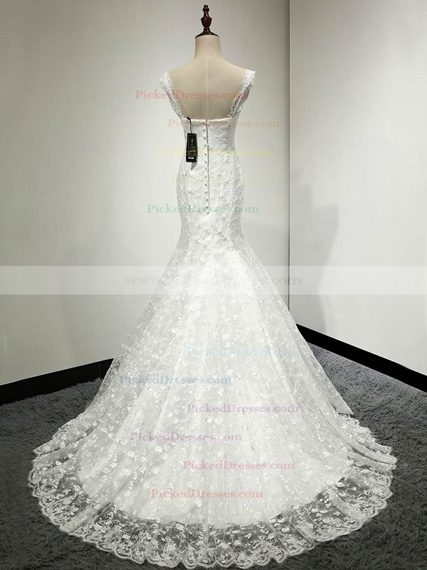 Trumpet/Mermaid V-neck Ivory Lace with Appliques Lace Sweep Train Classic Wedding Dresses #PDS00022811