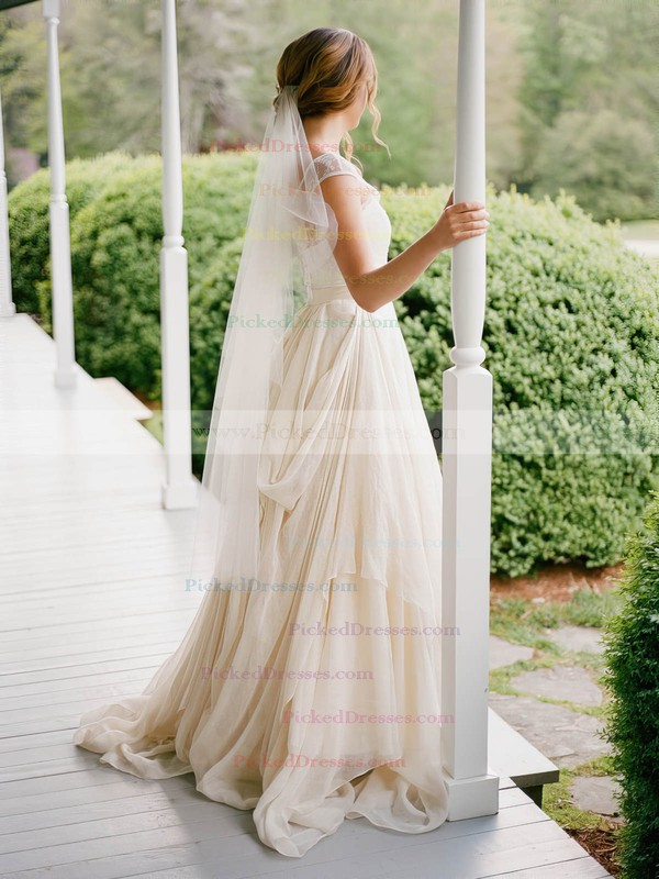 A-line V-neck Chiffon Tulle with Pick-Ups Sweep Train Cap Straps Fashion Wedding Dresses #PDS00022812