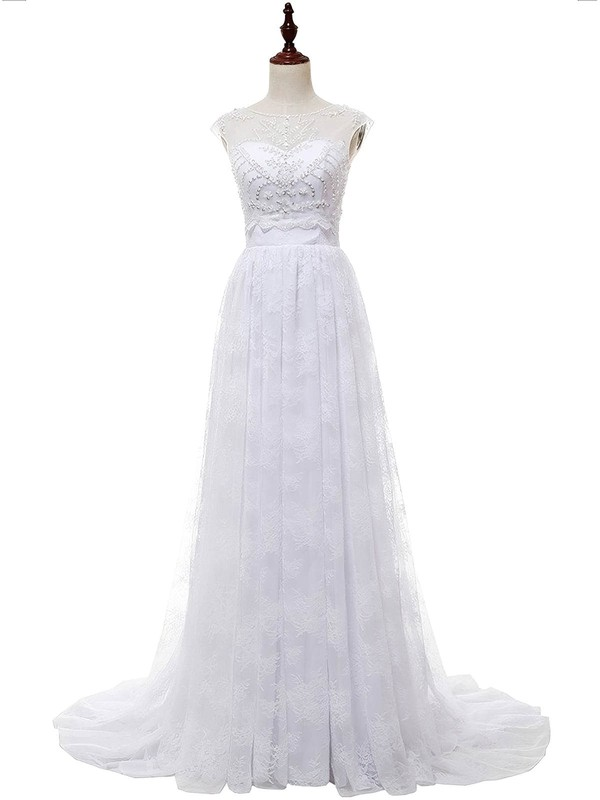 A-line Sweetheart Lace Chiffon with Appliques Lace Sweep Train Affordable Wedding Dresses #PDS00022813