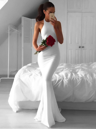 Hot Trumpet/Mermaid Halter White Chiffon Ruffles Sweep Train Backless Wedding Dresses #PDS00022814