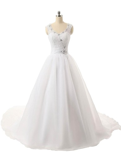 Ball Gown V-neck Organza with Beading Court Train Inexpensive Wedding Dresses #PDS00022815