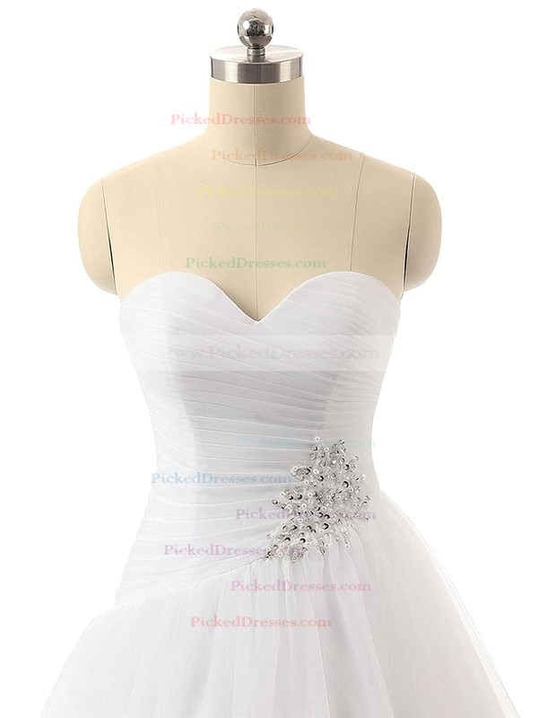 Ball Gown Sweetheart Tulle with Ruffles Sweep Train Wholesale Wedding Dresses #PDS00022816