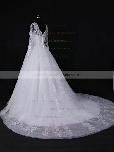 Ball Gown Scoop Neck White Tulle Appliques Lace Court Train Long Sleeve Discounted Wedding Dresses #PDS00022818