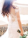 Sheath/Column Scoop Neck Tulle Silk-like Satin Appliques Lace Sweep Train Newest Wedding Dresses #PDS00022819