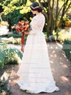 Latest A-line Scoop Neck Lace Appliques Lace Sweep Train 3/4 Sleeve Two Piece Wedding Dresses #PDS00022820