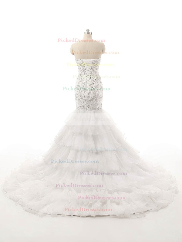 Trumpet/Mermaid Sweetheart Organza with Tiered Court Train Lace-up Vintage Wedding Dresses #PDS00022821
