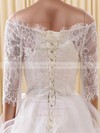 Cute A-line Off-the-shoulder Organza Tulle Appliques Lace Short/Mini 1/2 Sleeve Wedding Dresses #PDS00022822