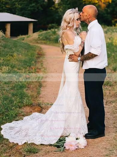 Trumpet/Mermaid Off-the-shoulder Tulle Appliques Lace Sweep Train Backless Fashion Wedding Dresses #PDS00022823