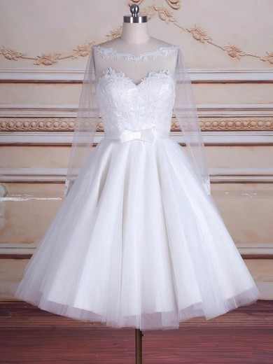 Trendy A-line Scoop Neck Tulle Appliques Lace Knee-length Long Sleeve Backless Wedding Dresses #PDS00022824