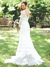 Trumpet/Mermaid V-neck Tulle Appliques Lace Sweep Train Long Sleeve Popular Wedding Dresses #PDS00022825