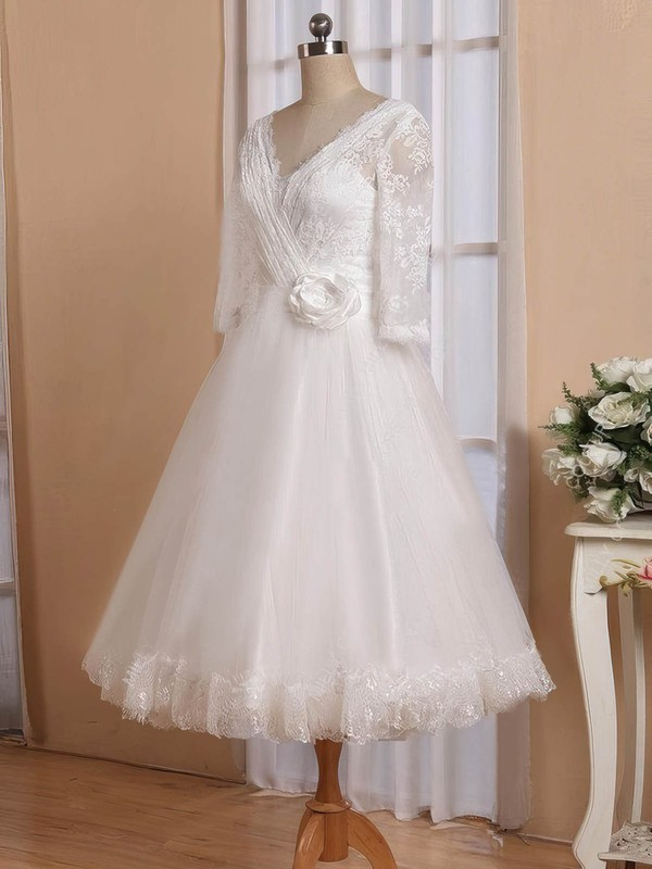 A-line V-neck Tulle with Flower(s) Tea-length 3/4 Sleeve Cheap Wedding Dresses #PDS00022826