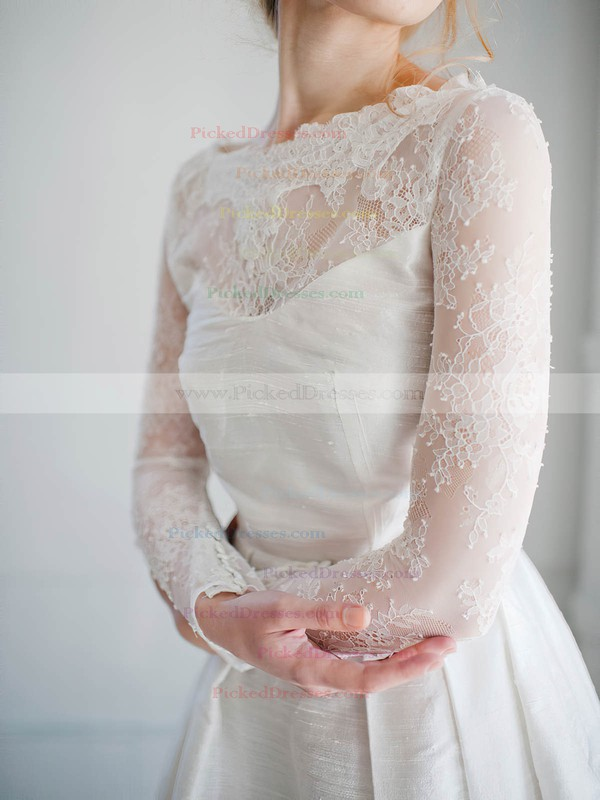 Modern A-line Scoop Neck Lace Satin Appliques Lace Short/Mini Long Sleeve Wedding Dresses #PDS00022827