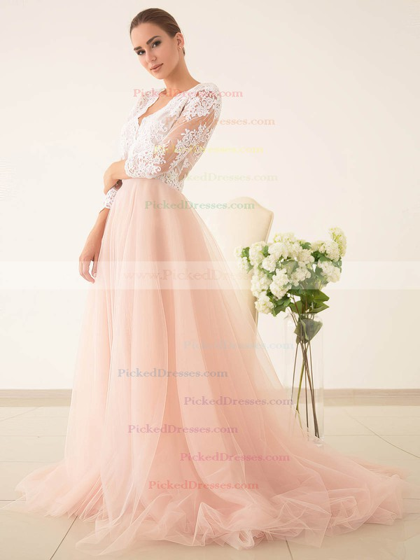 Princess V-neck Tulle with Appliques Lace Sweep Train 3/4 Sleeve Pretty Wedding Dresses #PDS00022828