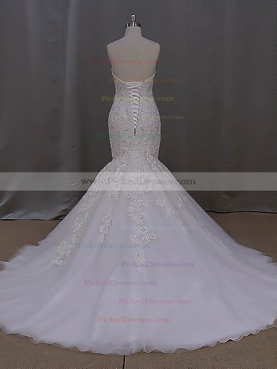 Trumpet/Mermaid Sweetheart Tulle with Appliques Lace Court Train Online Wedding Dresses #PDS00022829