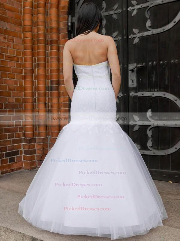 Trumpet/Mermaid Sweetheart Tulle Appliques Lace Floor-length Elegant Wedding Dresses #PDS00022831