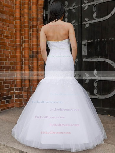 Trumpet/Mermaid Sweetheart Tulle Appliques Lace Floor-length Elegant Wedding Dresses #PDS00022831