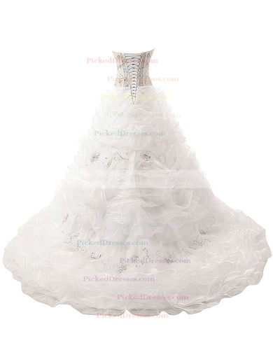 Beautiful Ball Gown V-neck Organza with Beading Court Train Lace-up Wedding Dresses #PDS00022832