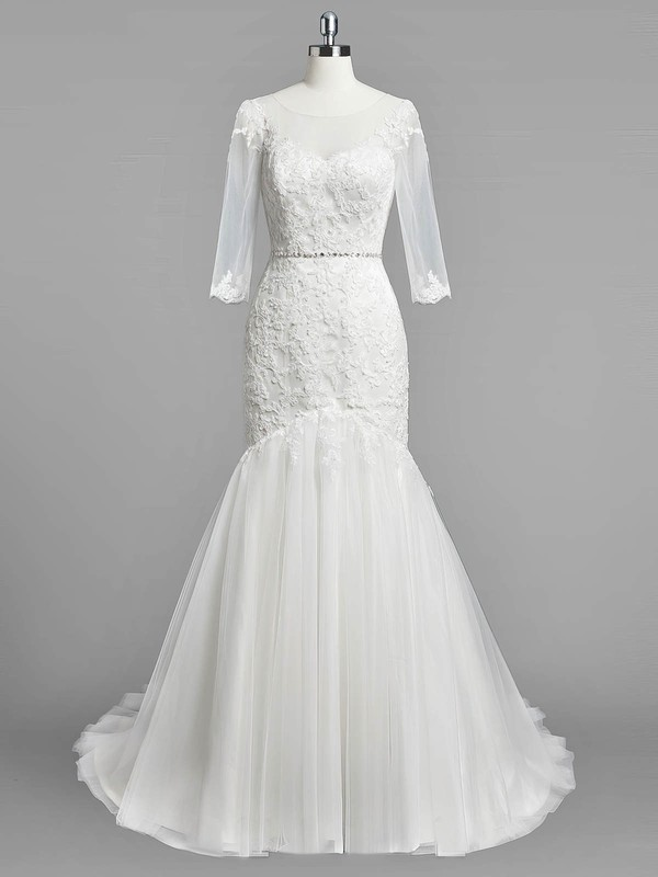Modest Trumpet/Mermaid Scoop Neck Tulle Appliques Lace Sweep Train 3/4 Sleeve Wedding Dresses #PDS00022833
