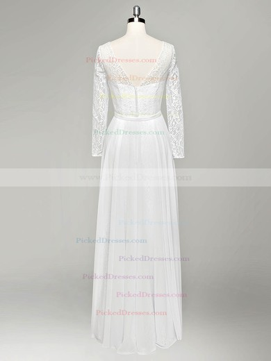 A-line V-neck Lace Chiffon Sashes / Ribbons Floor-length Long Sleeve Cheap Wedding Dresses #PDS00022834