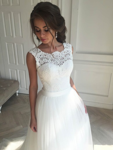 Sweet A-line Scoop Neck Tulle with Appliques Lace Sweep Train Backless Wedding Dresses #PDS00022835