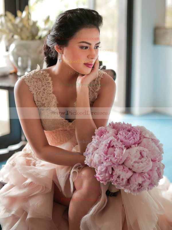 Princess V-neck Tulle with Appliques Lace Asymmetrical New Arrival Wedding Dresses #PDS00022837