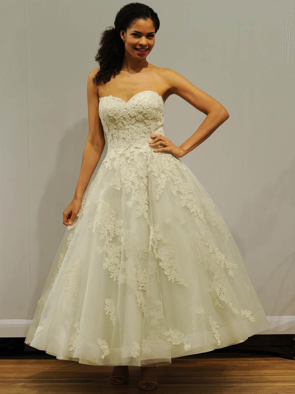 Ball Gown Sweetheart Tulle with Appliques Lace Ankle-length Classic Wedding Dresses #PDS00022838