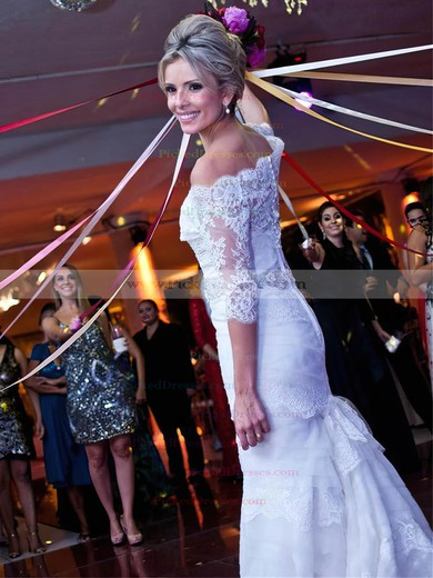Graceful Trumpet/Mermaid Off-the-shoulder Tulle Appliques Lace Sweep Train 1/2 Sleeve Wedding Dresses #PDS00022839