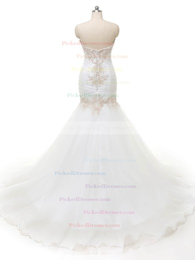 Trumpet/Mermaid Sweetheart Organza with Appliques Lace Sweep Train Wholesale Wedding Dresses #PDS00022840