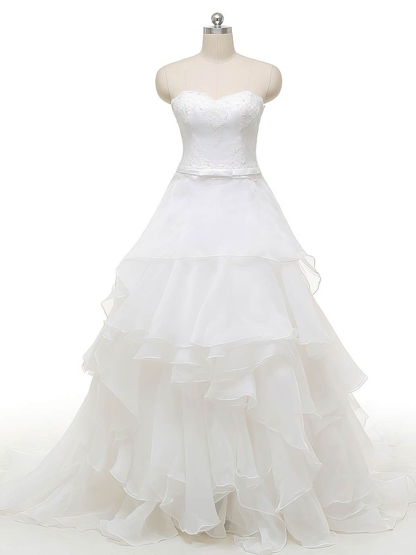 Princess Sweetheart Organza with Appliques Lace Court Train Original Wedding Dresses #PDS00022841