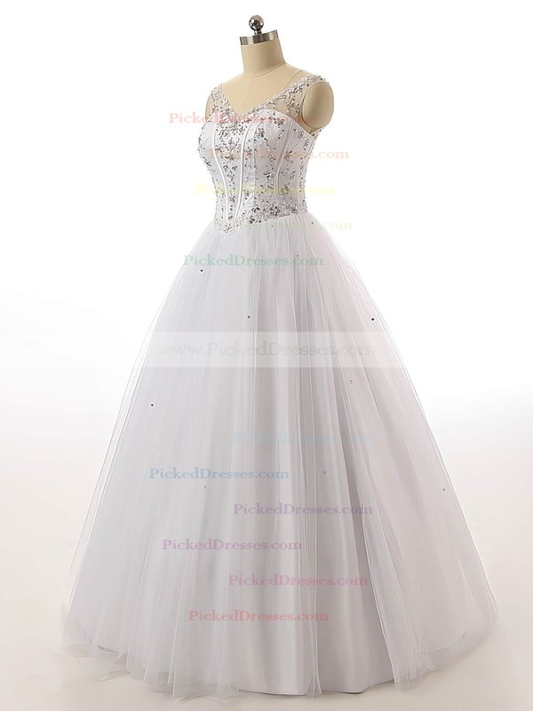 Ball Gown V-neck Tulle with Beading Floor-length Lace-up Vintage Wedding Dresses #PDS00022842