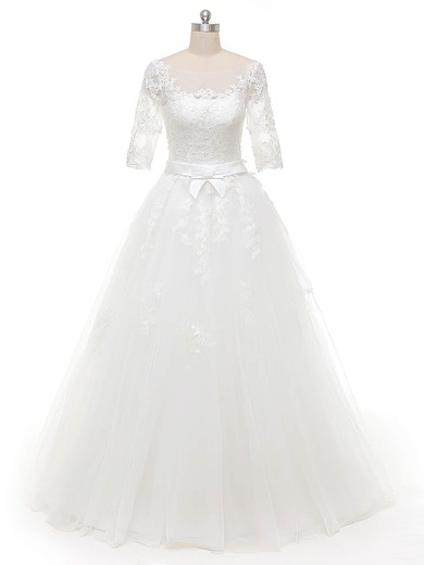 Original Ball Gown Scoop Neck White Tulle Appliques Lace Floor-length 1/2 Sleeve Wedding Dresses #PDS00022844