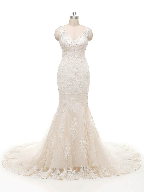 Trumpet/Mermaid V-neck Ivory Tulle Crystal Detailing Court Train Perfect Wedding Dresses #PDS00022845