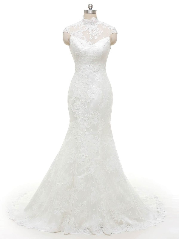 Trumpet/Mermaid High Neck Tulle with Appliques Lace Sweep Train Famous Wedding Dresses #PDS00022846