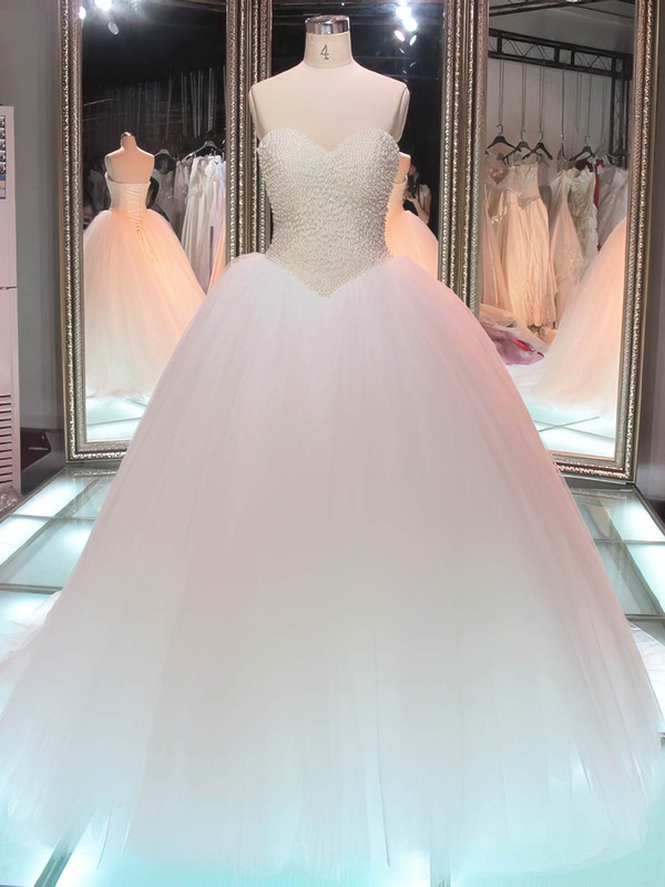 Boutique Ball Gown Sweetheart Tulle Pearl Detailing Floor-length Lace-up Wedding Dresses #PDS00022847
