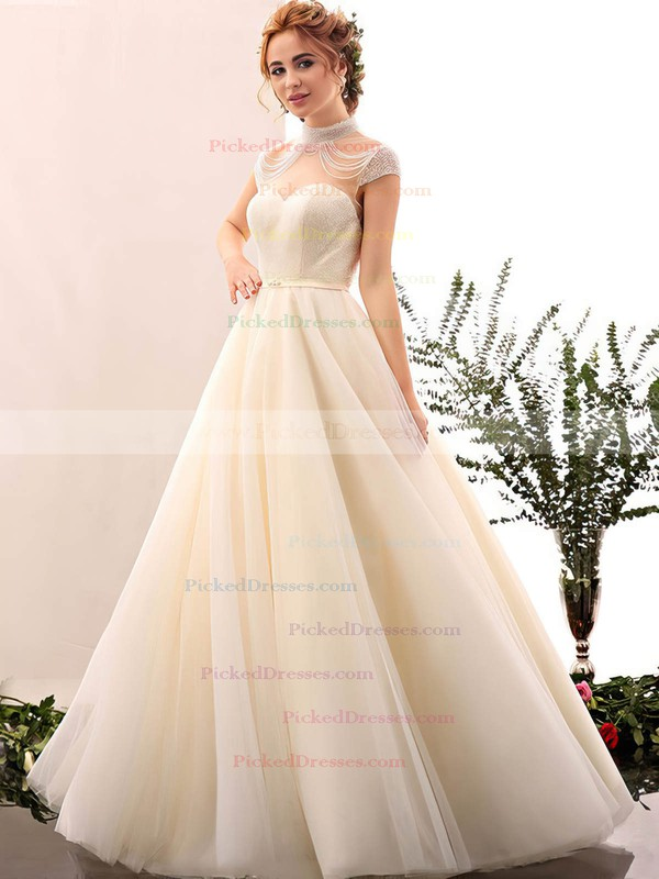 Fabulous Ball Gown High Neck Tulle with Beading Floor-length Open Back Wedding Dresses #PDS00022848