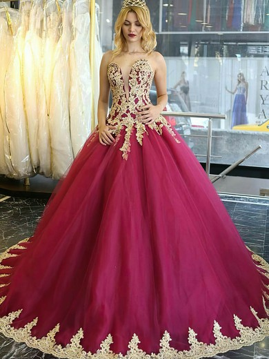 Ball Gown Sweetheart Burgundy Tulle Appliques Lace Sweep Train Boutique Wedding Dresses #PDS00022849