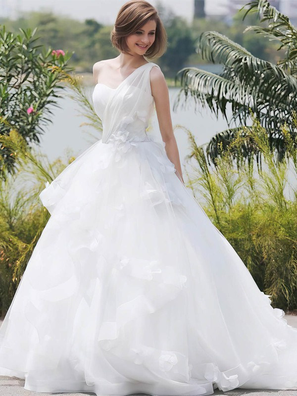 Ball Gown One Shoulder Tulle with Flower(s) Sweep Train Glamorous Wedding Dresses #PDS00022850