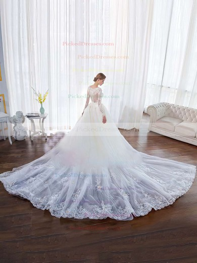 Classy Ball Gown Scoop Neck Tulle Lace Appliques Lace Chapel Train Long Sleeve Wedding Dresses #PDS00022851