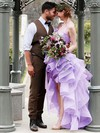 A-line Halter Organza Cascading Ruffles Asymmetrical High Low Exclusive Wedding Dresses #PDS00022852