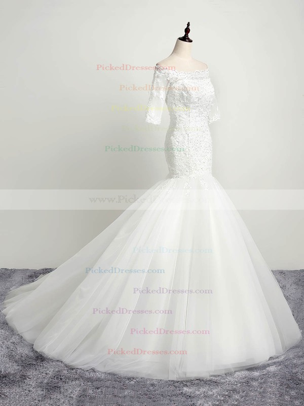 Elegant Trumpet/Mermaid Off-the-shoulder Tulle Appliques Lace Sweep Train 1/2 Sleeve Open Back Wedding Dresses #PDS00022853
