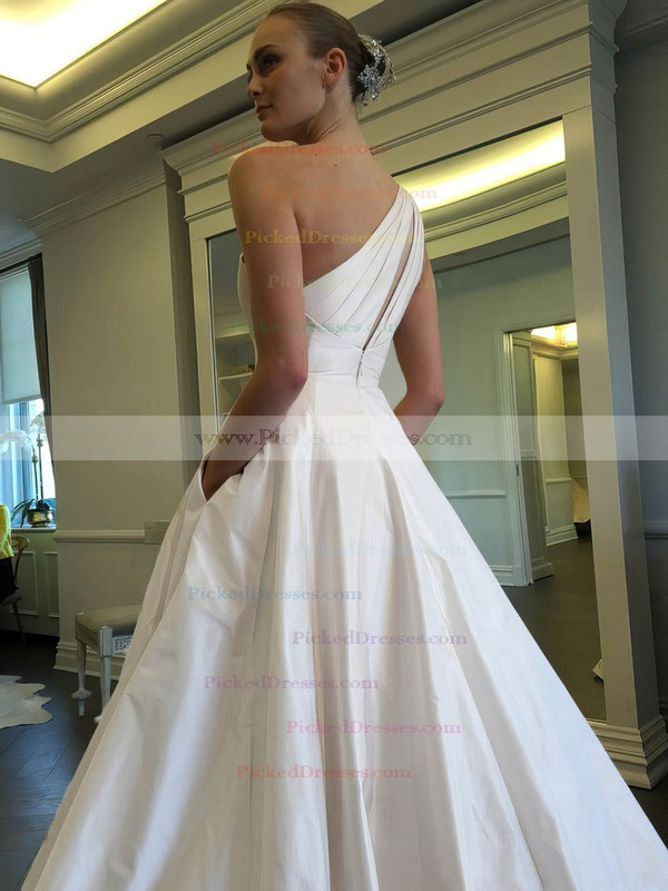 Ball Gown One Shoulder Satin with Ruffles Sweep Train Classic Wedding Dresses #PDS00022855