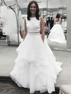 Boutique Princess Scoop Neck Organza Ruffles Sweep Train Two Piece Backless Wedding Dresses #PDS00022856