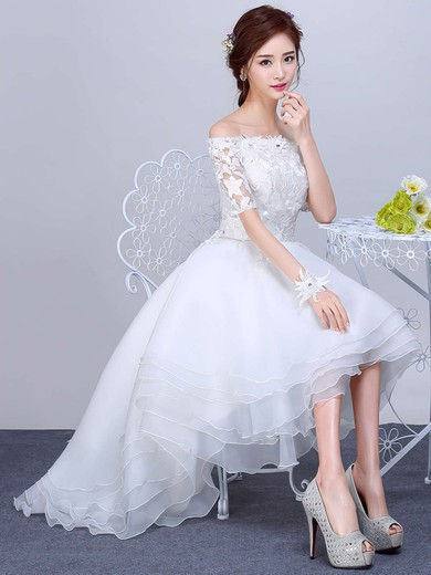 Pretty A-line Off-the-shoulder Organza Tulle Appliques Lace Asymmetrical 1/2 Sleeve High Low Wedding Dresses #PDS00022857