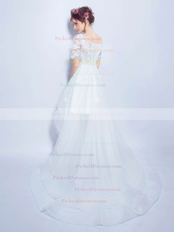 A-line V-neck Organza Tulle Appliques Lace Asymmetrical Short Sleeve High Low Sweet Wedding Dresses #PDS00022858