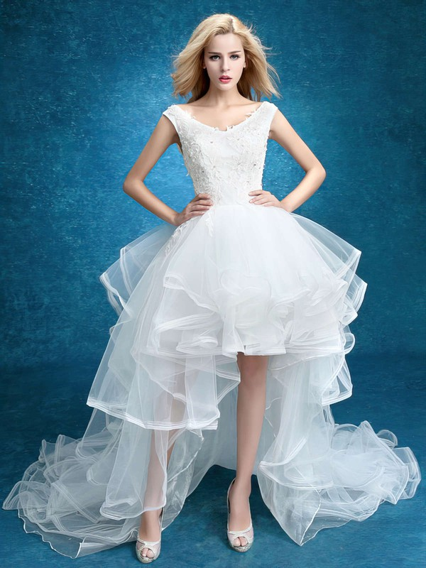 Unique A-line V-neck Tulle with Appliques Lace Asymmetrical High Low Wedding Dresses #PDS00022859